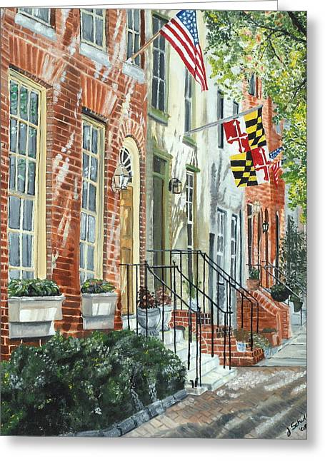 July 4th Paintings Greeting Cards - William Street Summer Greeting Card by John Schuller