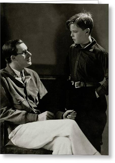 William Tilden With A Young Boy Greeting Card by Edward Steichen
