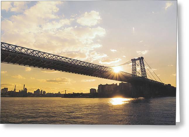 Williamsburg Bridge - Sunset - New York City Greeting Card by Vivienne Gucwa