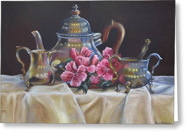 Greeting Card featuring the painting Williamsburg Stieff Tea Set by Phyllis Beiser