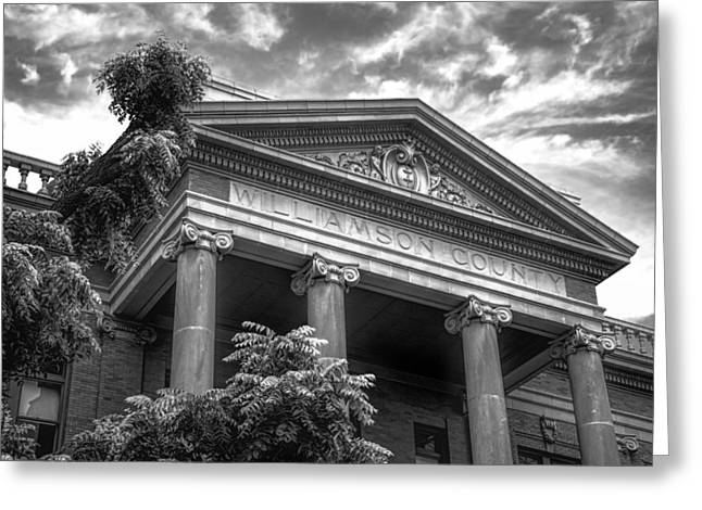 Williamson County Courthouse Bw Greeting Card by Joan Carroll