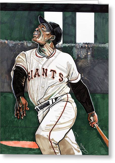 Willie Mays Greeting Card by Dave Olsen
