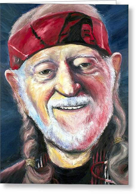 Willie Nelson On The Road Again Greeting Card by Mike Underwood
