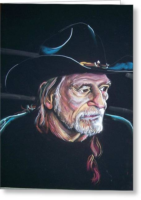 Greeting Card featuring the pastel Willie Nelson by Peter Suhocke