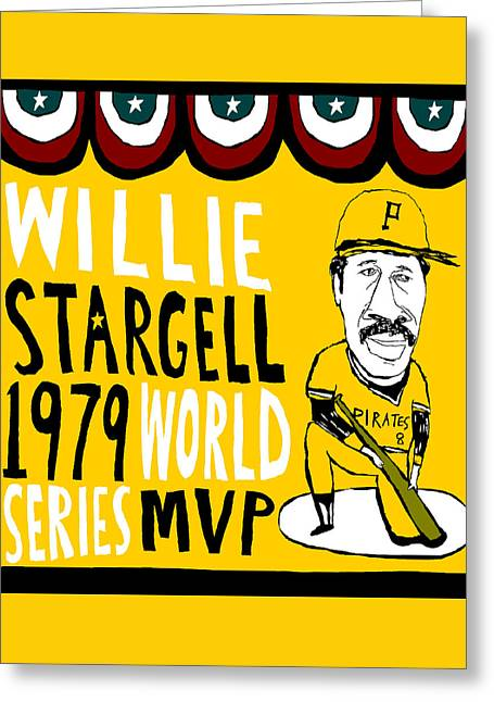 Willie Stargell Pittsburgh Pirates Greeting Card by Jay Perkins