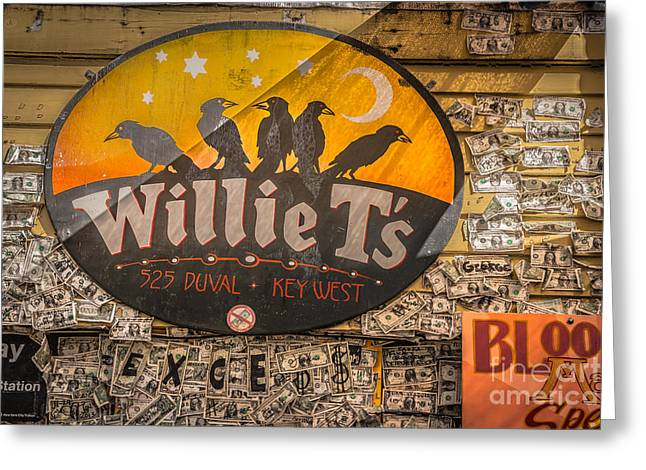 Willie T's Bar And Dollar Bills Key West - Hdr Style Greeting Card by Ian Monk