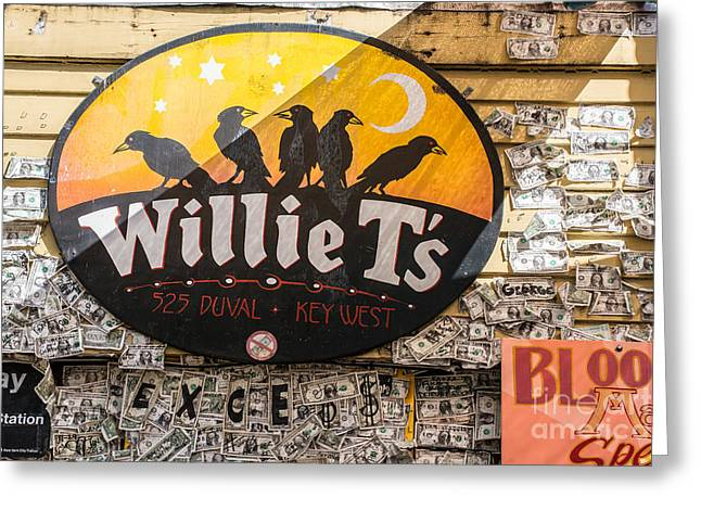 Willie T's Bar And Dollar Bills Key West  Greeting Card by Ian Monk