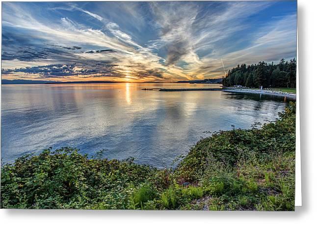 Willingdon Beach Sunset Hdr Greeting Card