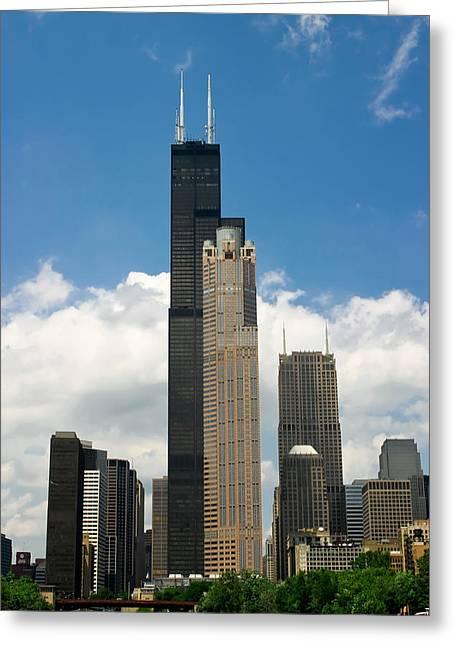 Willis Tower Aka Sears Tower Greeting Card by Adam Romanowicz