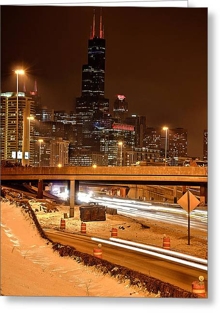 Willis Tower Chicago Winter 2014 Greeting Card by Michael  Bennett