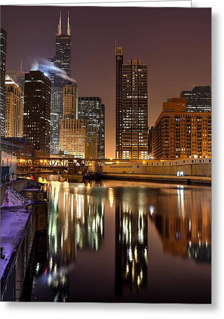 Willis Tower Reflection In Chicago River March 2014 Greeting Card by Michael  Bennett