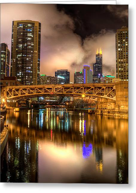 Willis Tower Reflection In Chicago River  Greeting Card by Michael  Bennett
