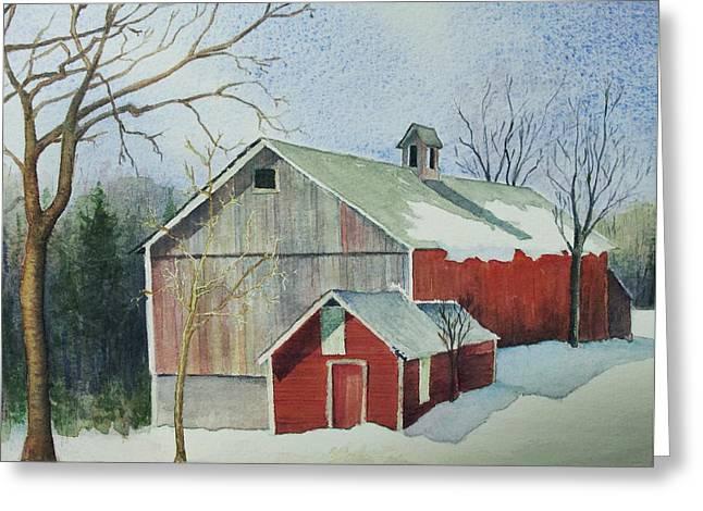Williston Barn Greeting Card by Mary Ellen Mueller Legault