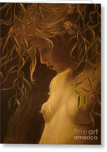 Willow Girl Greeting Card by John Silver
