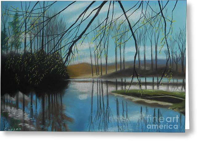 Greeting Card featuring the painting Willow Overhang by Robert Coppen