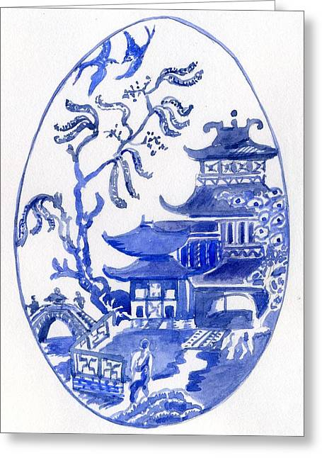 Willow Pattern Egg I Greeting Card