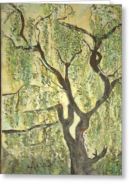 Greeting Card featuring the painting Willow Tree by Aleezah Selinger