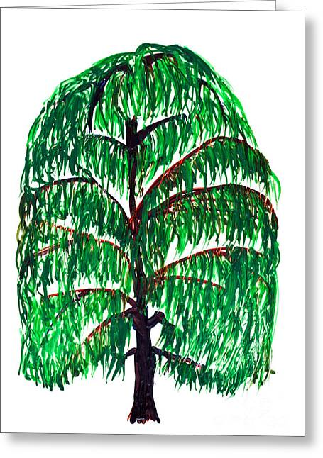 Willow Tree Painting Isolated Greeting Card by Simon Bratt Photography LRPS