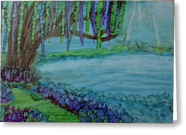 Willows By The Pond Greeting Card