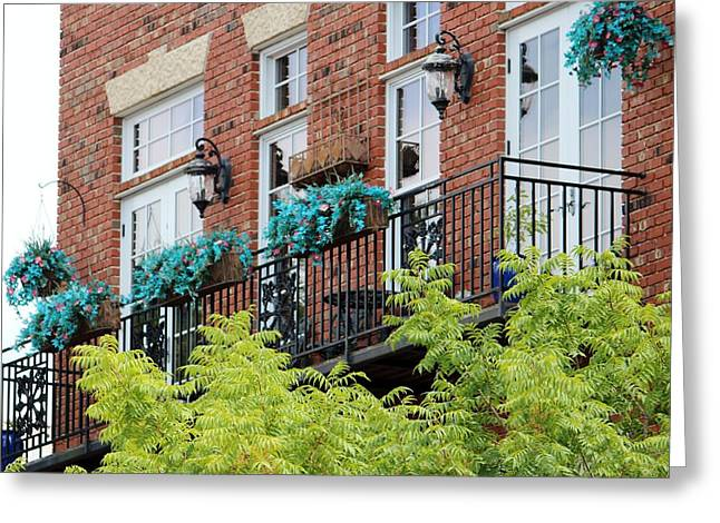 Blue Flowers On A Balcony  Greeting Card
