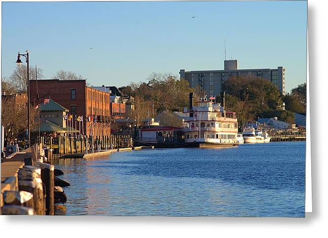 Wilmington River Front At Sunset January 2014 Greeting Card