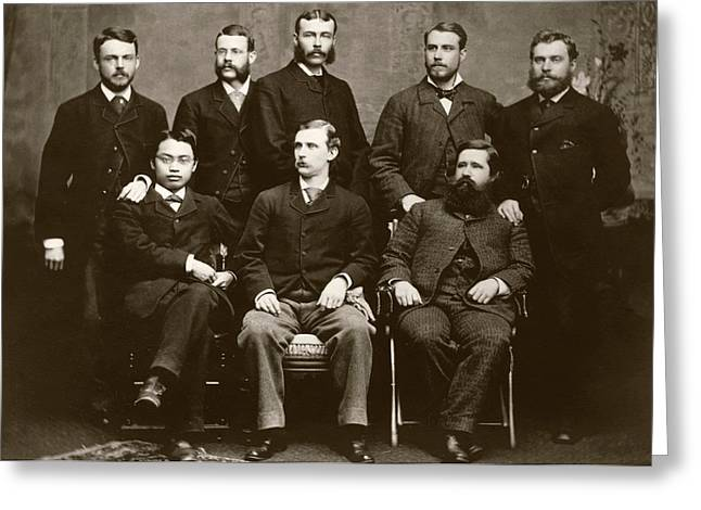 Wilson And Hartwell In Group Portrait Greeting Card by American Philosophical Society