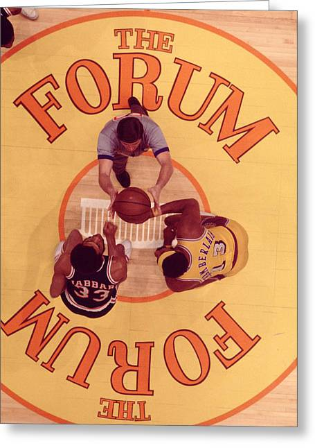 Wilt Chamberlain Vs. Kareem Abdul Jabbar Greeting Card by Retro Images Archive