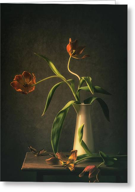 Wilted Tulips Greeting Card