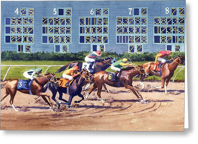Win Place Show At Del Mar Greeting Card by Mary Helmreich