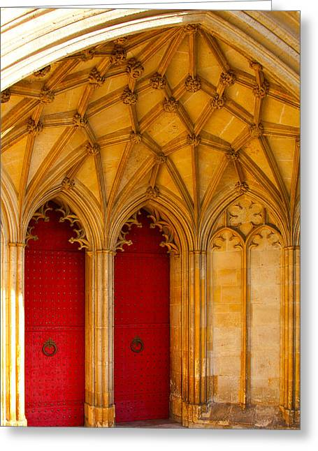 Winchester Cathedral Archway - Mike Hope Greeting Card