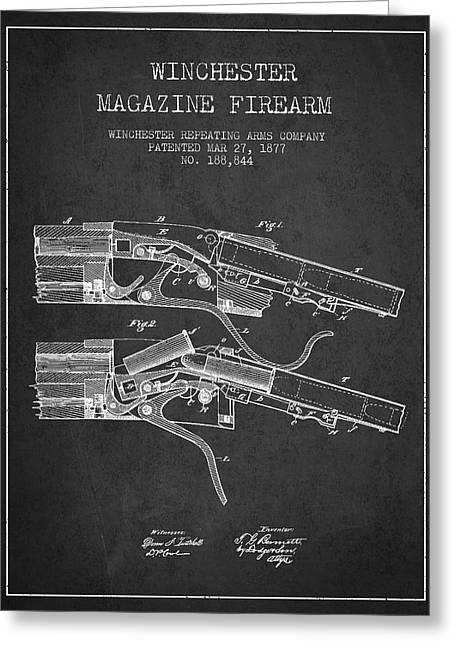 Winchester Firearm Patent Drawing From 1877 - Dark Greeting Card by Aged Pixel