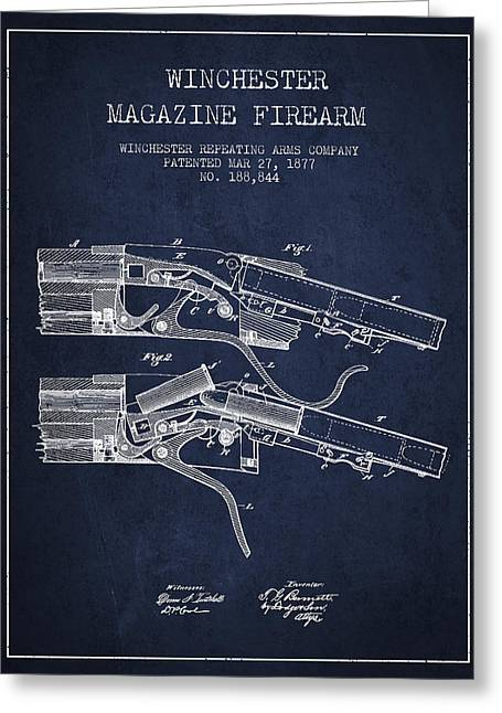 Winchester Firearm Patent Drawing From 1877 - Navy Blue Greeting Card by Aged Pixel