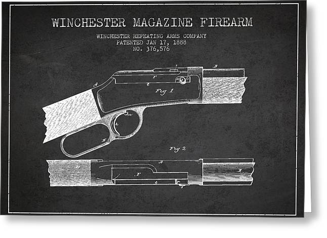 Winchester Firearm Patent Drawing From 1888- Dark Greeting Card by Aged Pixel