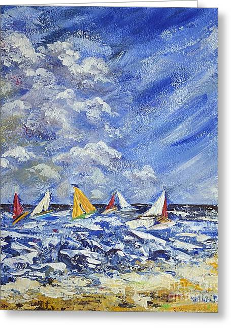 Wind And Sails Greeting Card by Kathleen Pio