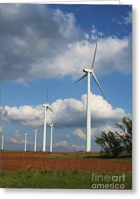 Greeting Card featuring the photograph Wind Farm And Red Dirt by Jim McCain