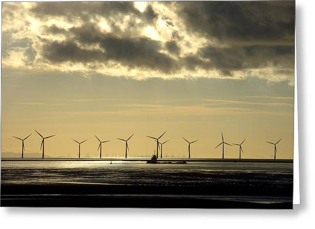 Wind Farm At Sunset Greeting Card