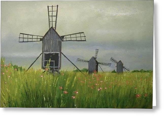 Wind Farm Greeting Card by Rami Besancon