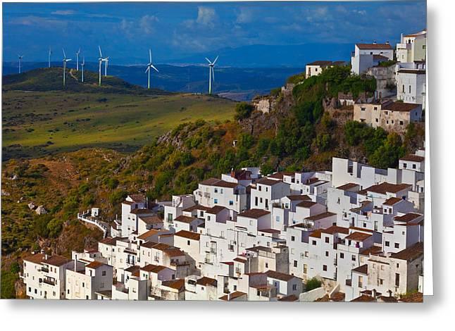 Wind Generators Beyond The Village Greeting Card