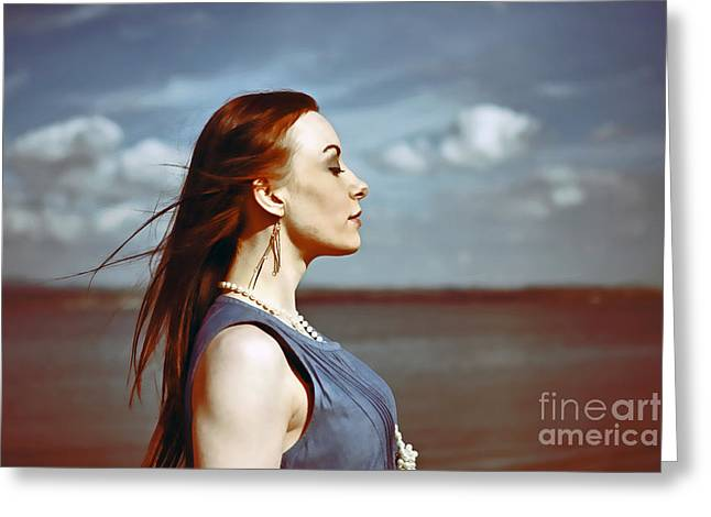 Wind In Her Hair Greeting Card by Craig B