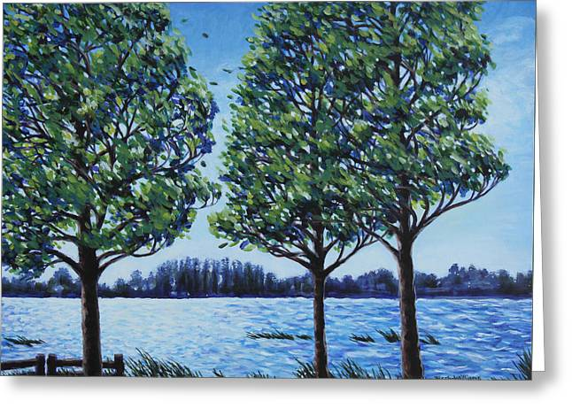 Greeting Card featuring the painting Wind In The Trees by Penny Birch-Williams