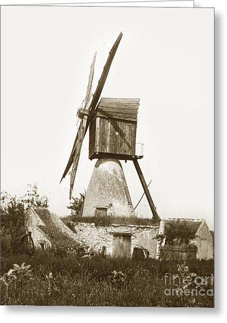Greeting Card featuring the photograph Wind Mill In France 1900 Historical Photo by California Views Mr Pat Hathaway Archives