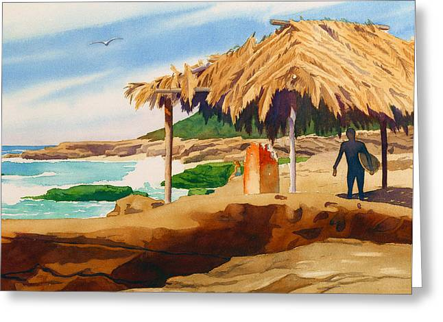 Shack Greeting Cards - Wind n Sea Beach La Jolla Greeting Card by Mary Helmreich