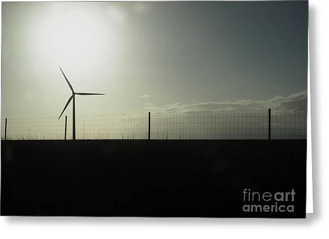 Wind Power Against A Threatening Sky Greeting Card by Bernard Jaubert