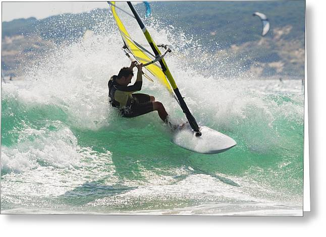 Wind Surfing In The Ocean Tarifa Greeting Card