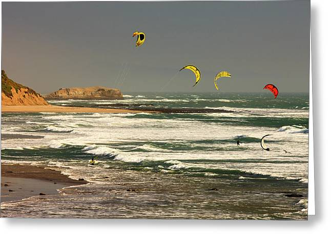 Wind Surfing Santa Cruz Coast Greeting Card by Tom Norring