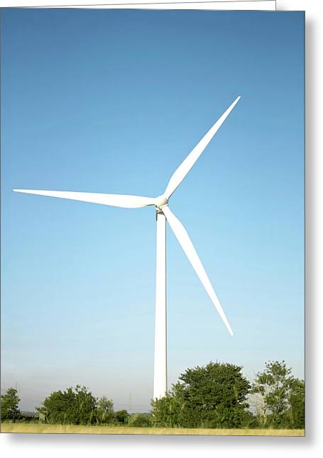 Wind Turbine And Blue Sky Greeting Card by Jesper Klausen / Science Photo Library