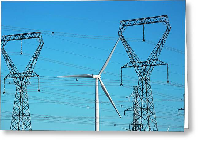 Wind Turbine And Electricity Pylons Greeting Card by Jim West