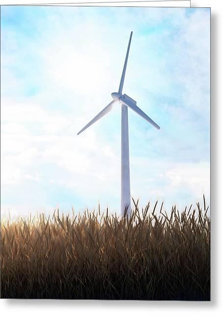Wind Turbine Greeting Card by Andrzej Wojcicki