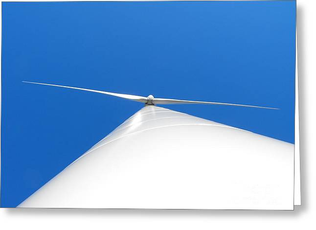 Wind Turbine Blue Sky Greeting Card by Erick Schmidt
