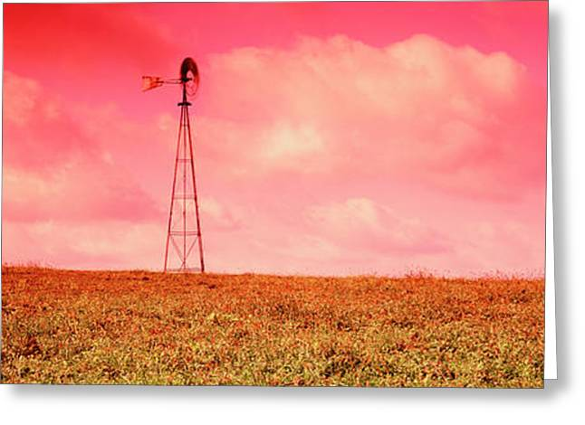 Wind Turbine In A Field, Amish Country Greeting Card by Panoramic Images